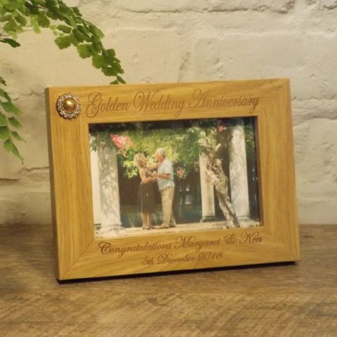 Personalised 50th Golden Wedding Anniversary Photo Frame 7x5